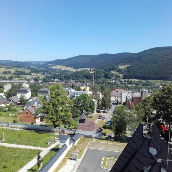 pohled z věže na město, autor: Jiří Skácel