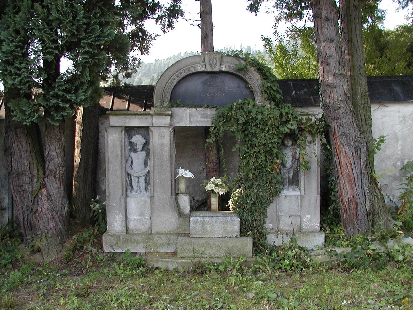 hrobka F  a E  Wolfových  a L  Benzinga, obrázek se otevře v novém okně
