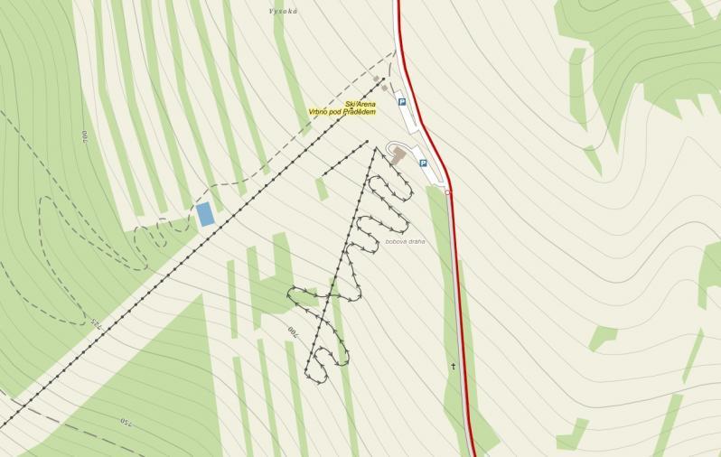 Bobová dráha - mapa